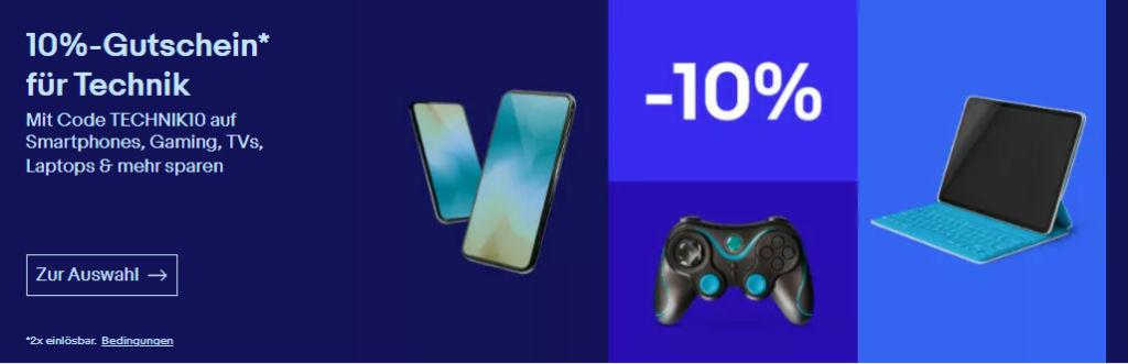 10% eBay Gutschein Juli 2021 - TECHNIK10 - Smartphones, TVs, Tablet, Gaming und mehr