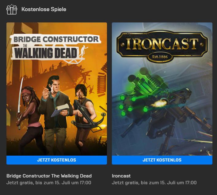 Bridge Constructor: The Walking Dead (Windows/MacOS) und Ironcast (Windows( kostenlos bis 15. Juli - Epic Games Store - Vollversion