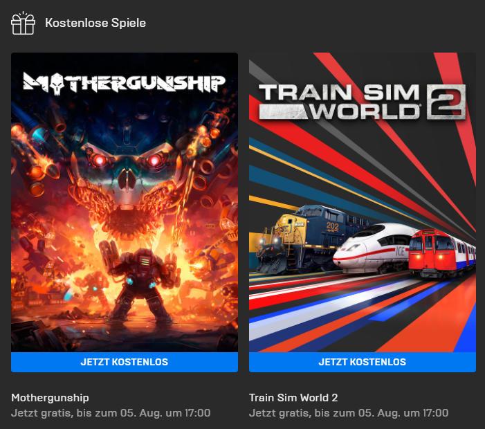 Mothergunship und Train Sim World 2 für Windows kostenlos bis 05. August - Epic Games Store - Vollversion