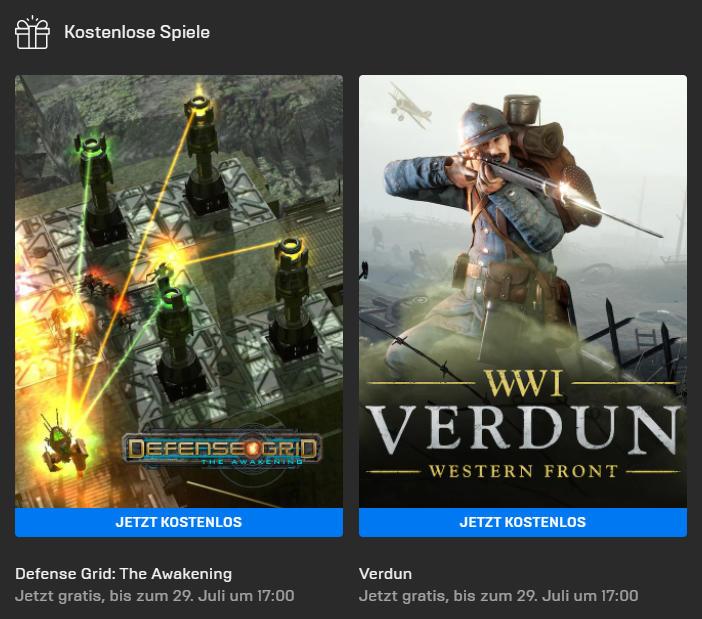 Defense Grid: The Awakening (Win) und Verdun (Win/Mac) kostenlos bis 29. Juli - Epic Games Store - Vollversion