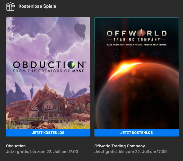 Obduction (Win/Mac) und Offworld Trading Company (Win) kostenlos bis 22. Juli - Epic Games Store - Vollversion