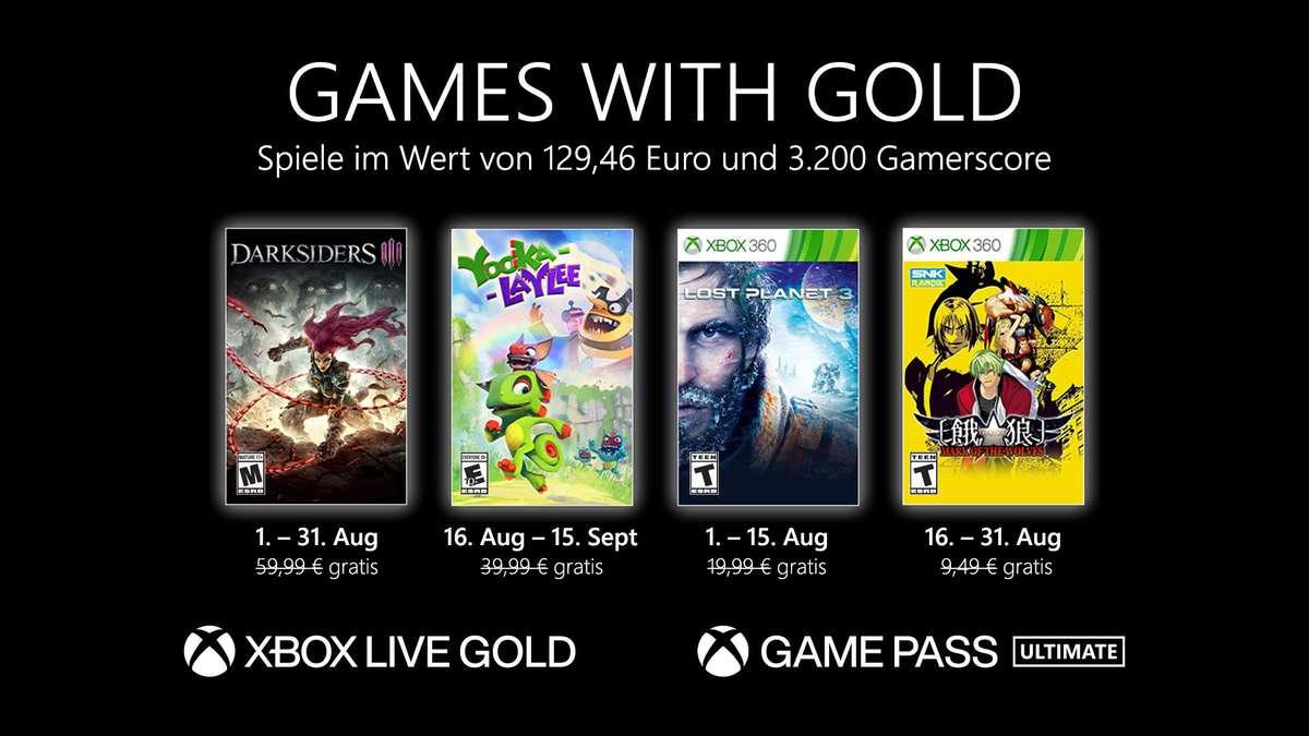 Monatlich kostenlose Spiele mit Xbox Live Gold und Xbox Game Pass Ultimate - August 2021