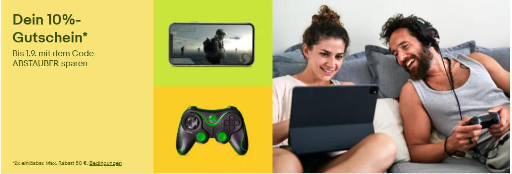 10% eBay Gutschein August 2021 - ABSTAUBER - Gaming, PCs, Notebooks, Konsolen, Games, PC-Komponenten und mehr