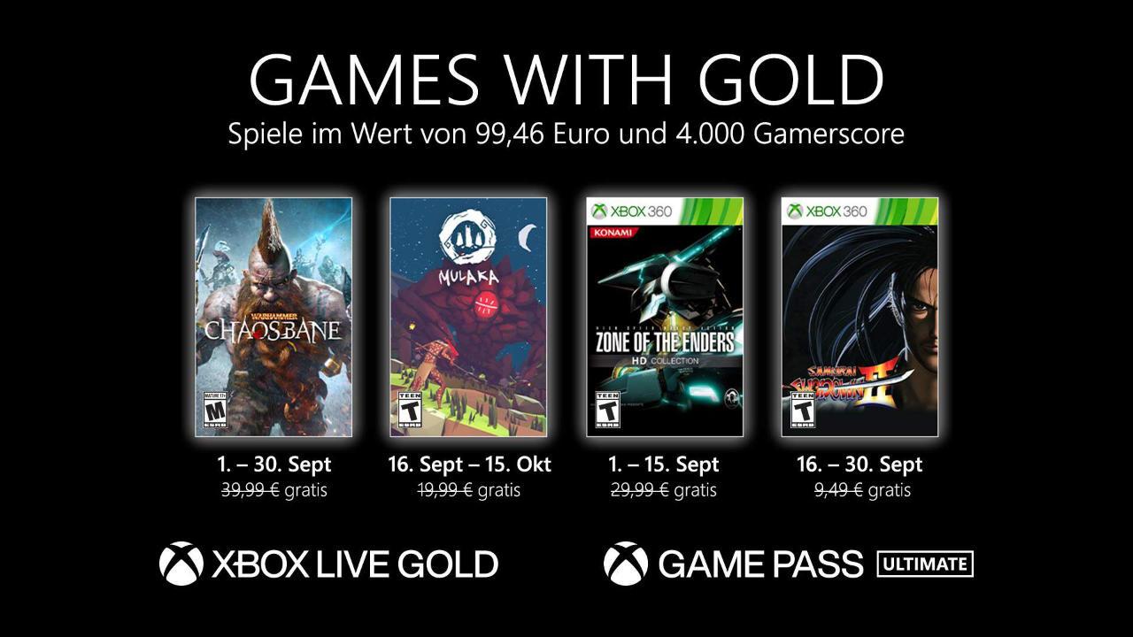 Monatlich kostenlose Spiele mit Xbox Live Gold und Xbox Game Pass Ultimate - September 2021