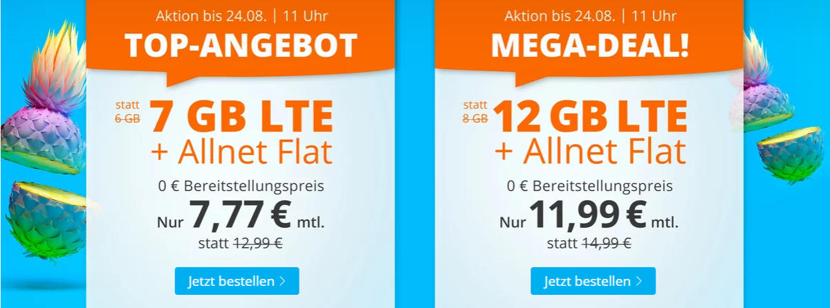 Sim.de - günstige Allnet-Flat mit Telefonie, SMS, 7 oder 12 GB Datenvolumen LTE inkl. EU Roaming