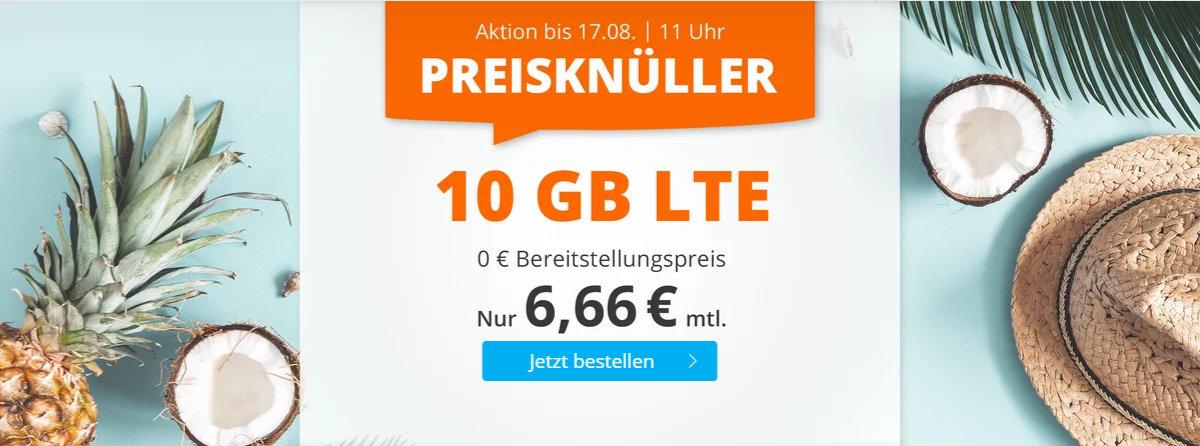 sim.de - 10 GB LTE-Datenvolumen mit 60 Freiminuten für 6,66 Euro im Monat