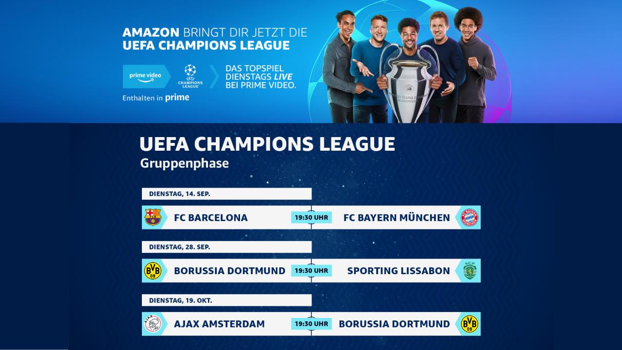Gruppenphase der UEFA Champions League bei Amazon Prime Video - Start mit Barcelona gegen Bayern - Livestream