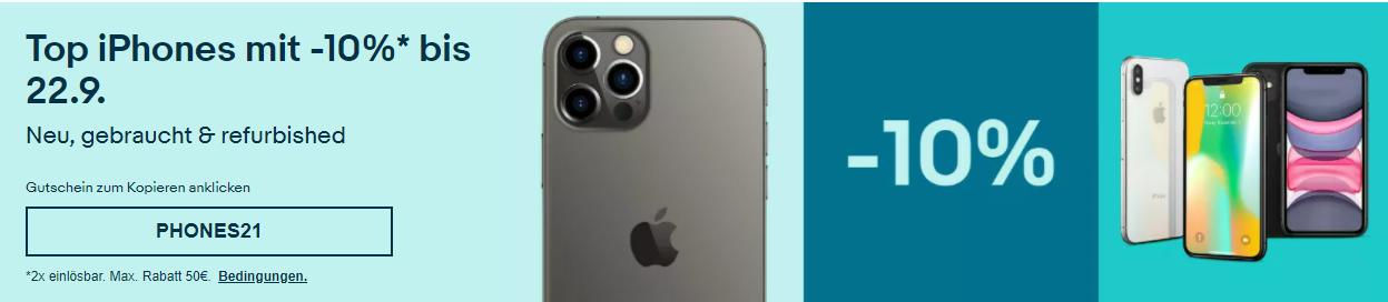 10% Rabatt auf iPhones bei eBay