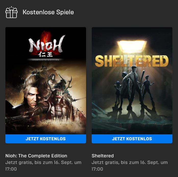 Nioh - The Complete Edition und Sheltered kostenlos bis 16. September - Epic Games Store - Vollversion
