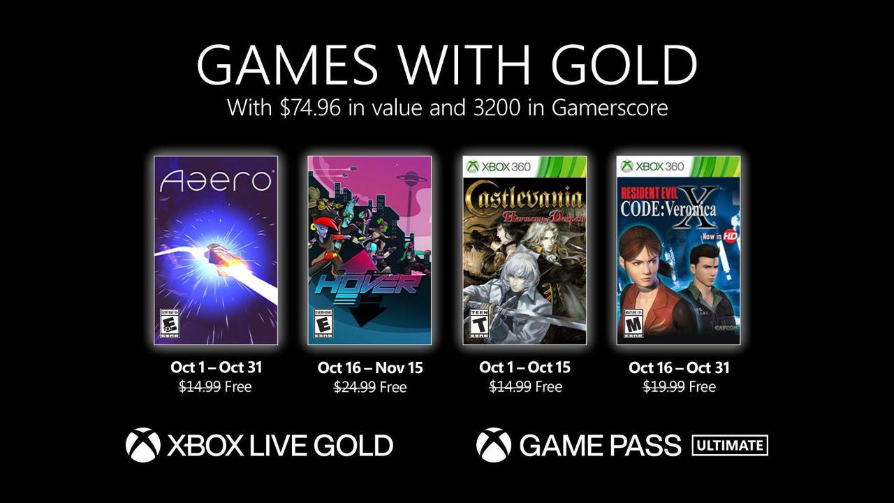 Monatlich kostenlose Spiele mit Xbox Live Gold und Xbox Game Pass Ultimate - Oktober 2021