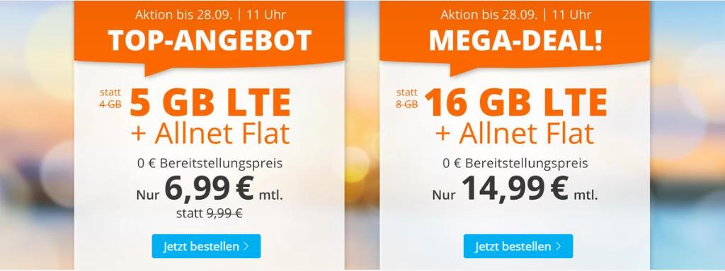 Sim.de - günstige Allnet-Flat mit Telefonie, SMS, 16 GB Datenvolumen LTE inkl. EU Roaming