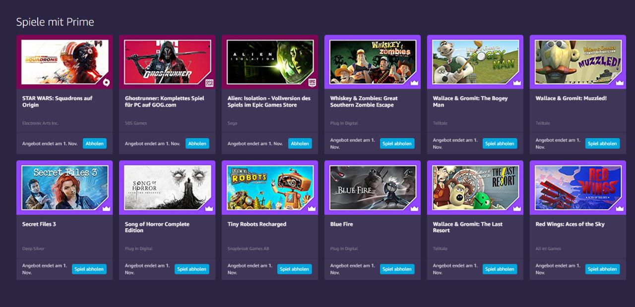 Prime Gaming - jeden Monat 5+ kostenlose Computerspiele für Mitglieder - Oktober 2021